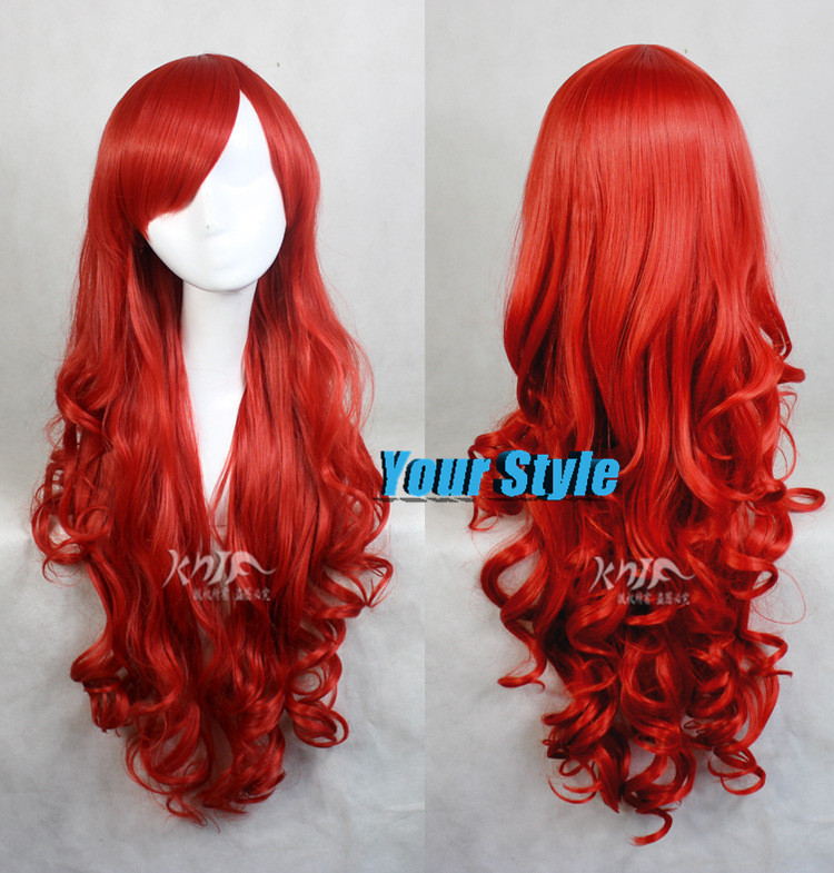 75cm 30 Cheap Good Quality Princess Ariel Red Wig font b Synthetic b font Cosplay Wigs