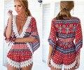 V Cuello irregular crochet Beach Cortocircuitos Del Mono Playsuits Damas Flor Del Mameluco de Impresión nuevo de Las Mujeres Sexy de Encaje Cosido