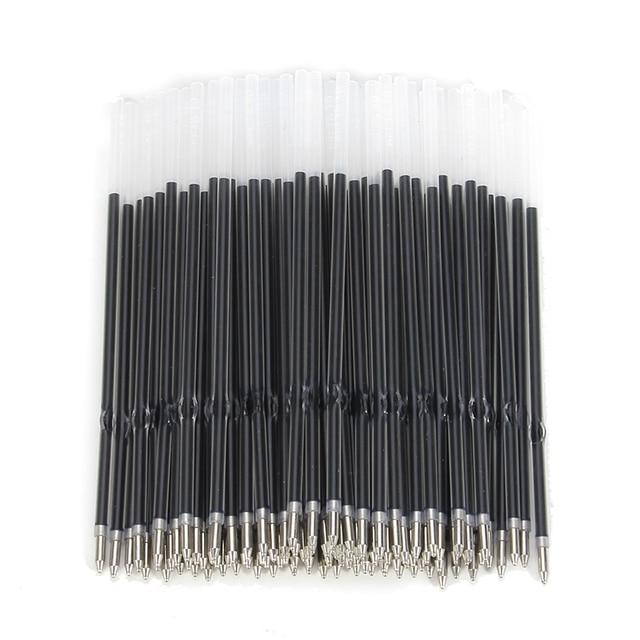 Mrosaa 100Pcs Roller Ball Ballpoint Pen 0.7mm Stander Refill High Quality Lead Rods Black Blue Office School Writing Supplies 1