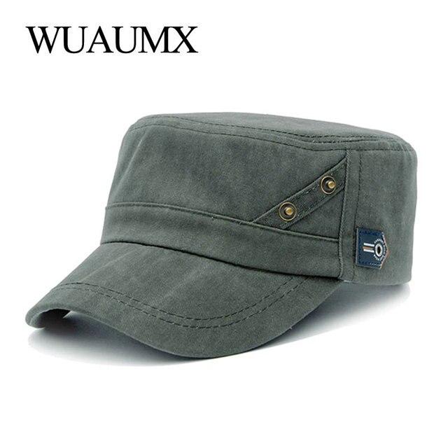 Wuaumx nueva militar sombreros para Mujeres Hombres 100% algodón lavado  gorra militar pico curvo verano gorra militar tapa plana clásica sombrero  sólido f4e442f6145
