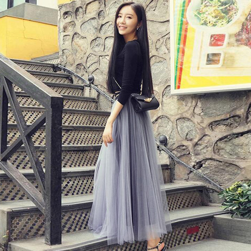 Multi Layers Long Womens Tulle Net Skirt Princess Lace Skirt Evening Party Skirt