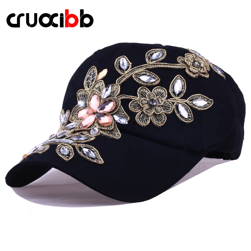 CRUOXIBB New Women s Baseball Cap Full Crystal Flower Denim Bling Rhinestone Women Snapback Cap Gorras Adjustable Unisex Caps
