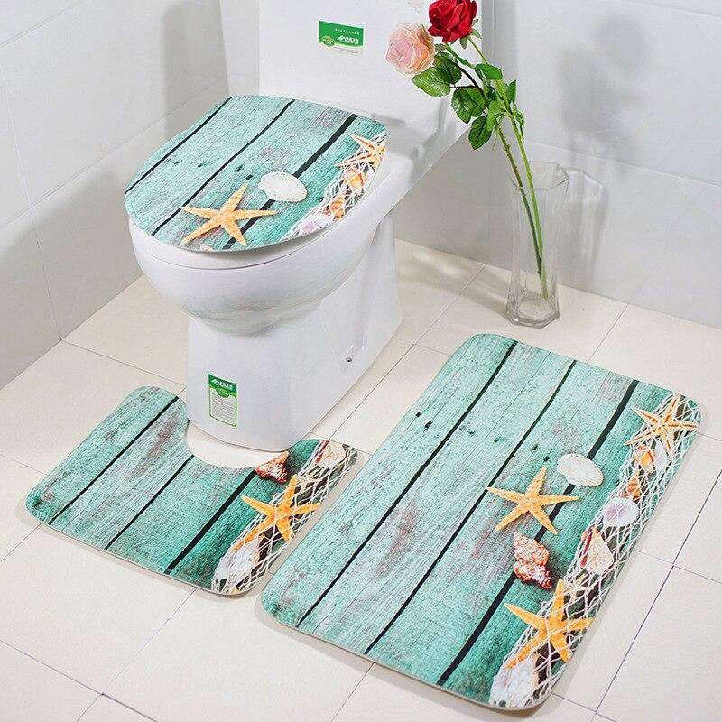 3 ชิ้น/เซ็ตห้องน้ำชุดพรมห้องน้ำ Ocean World Slip Bath Mat พรมพรมตกแต่งบ้านพรมห้องน้ำผลิตภัณฑ์ Tapete banheiro