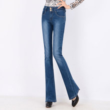 Elegant Spring High Waist Flare Jeans Pants Plus Size Stretch Skinny Jeans Women Wide Leg Slim Hip Denim Boot Cuts Long Trousers