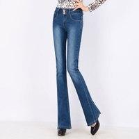 Elegante Frühling Hohe Taille Flare Jeans Hosen Plus Größe Stretch Dünne Jeans Frauen Breites Bein Hüfte Dünnen Denim Taillen-boot-cuts Lange Hosen