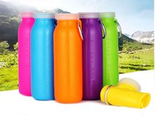 500ml Foldable Soft Silicone Water Bottle Bag Sport Portable Kettle For Travel/Cycling/Running/Wayfarer, BPA free