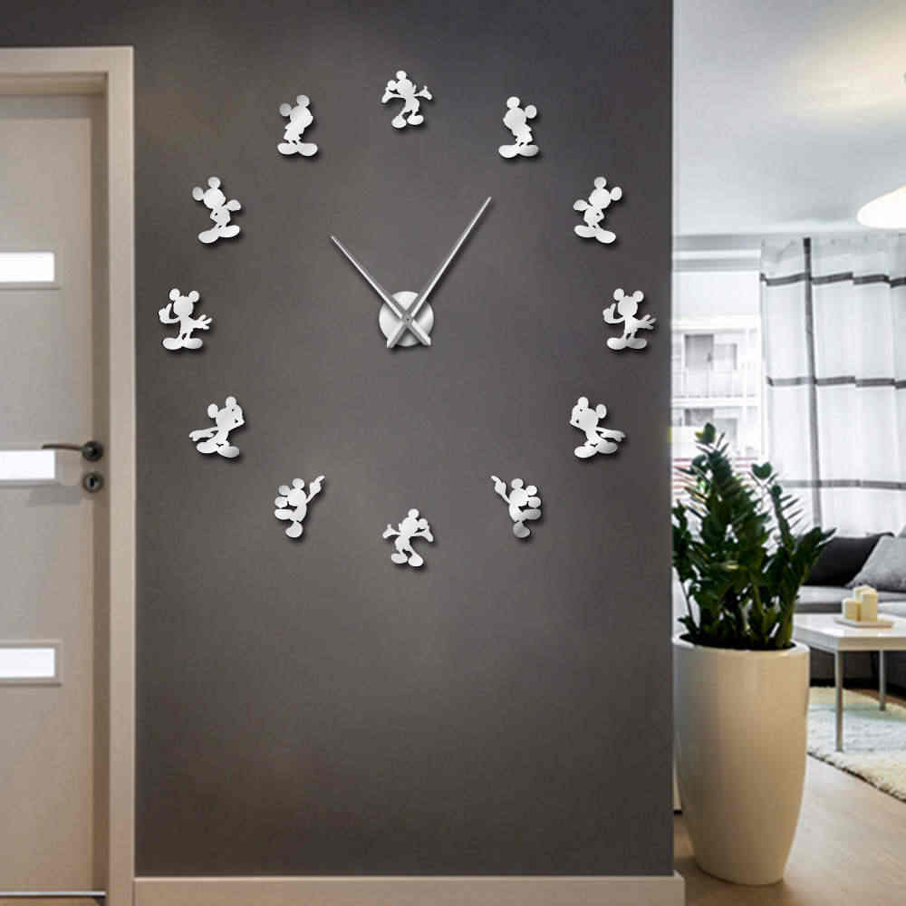 1Piece Mickey Design DIY Giant Wall Clock Cartoon Kid Room Decor Frameless Large Wall Watch 3D Mirror Effect Comics Wall Sticker
