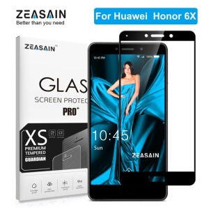 "ZEASAIN Full Cover Tempered Glass for Huawei Honor 6X 6 X Honor6X Screen Protector 5.5"" Real 2.5D 9H High Quality Glass Film"