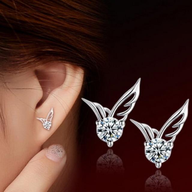 Lady Bride Korea Fashion Silver Jewelry Angel Wings Crystal Ear Stud Earrings Exquisite Women Fashion Earrings