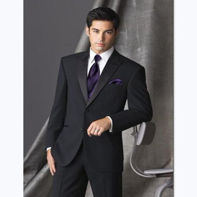 Custom Mens Suits Arrival Groom Tuxedo Black Groomsmen Peak Satin Wedding/Dinner Suits Best Man Bridegroom (Jacket+Pants+Vest)