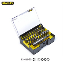 "Stanley 31 adet 1/4 ""sürücü hexgaon torx pozidriv düz vb. 25mm tornavida bit seti ile manyetik matkap uçları tutucu uzatma 60mm"