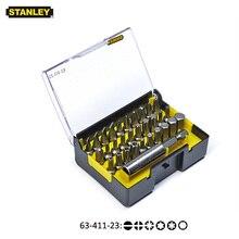 """Stanley 31 pz 1/4 """"drive hexgaon torx pozidriv piatto ecc 25mm bit di cacciavite kit con magnetico punte da trapano estensione del supporto 60mm"""