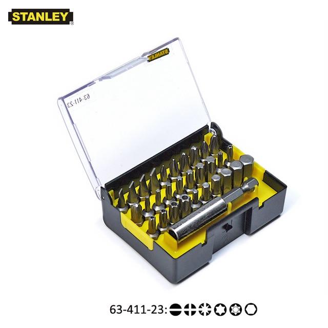 "Stanley 31 stks 1/4 ""drive hexgaon torx pozidriv platte etc. 25mm schroevendraaier bit kit met magnetische boren houder extension 60mm"