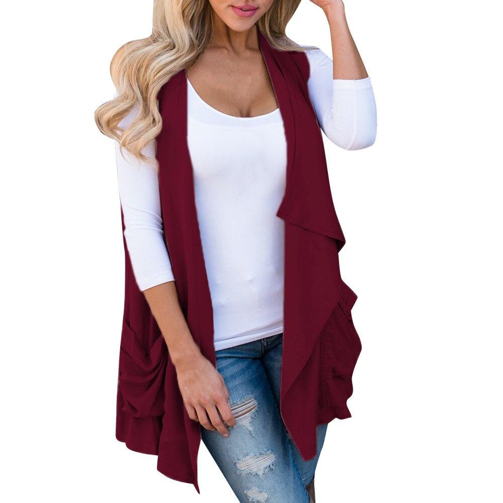 #4 Dropship 2018 Neue Heiße Mode Frauen Vorne Offen Mantel Mantel Wasserfall Strickjacke Jacke Weste Tasche Freeship Der Preis Bleibt Stabil