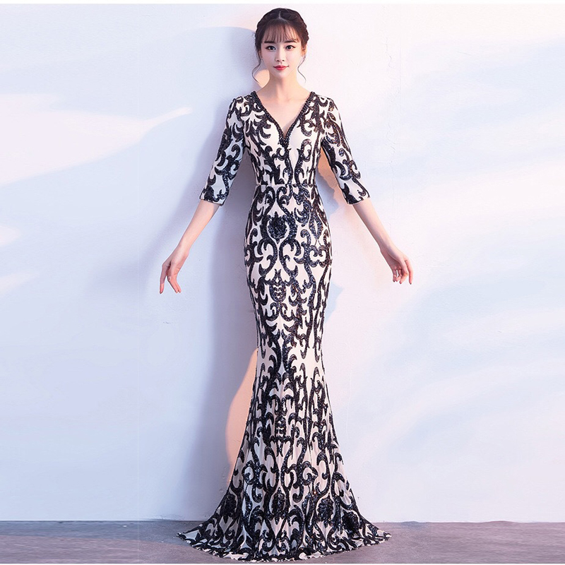 Long Evening Dress 2019 Fashion Half Sleeve V Neck Prom Gown Mermaid Party Dresses vestido de