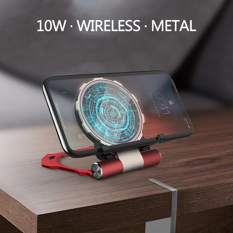 Haute-fin Wireles Chargeur pour Iphone XS Max Tony Stark Arc Reactor 10 W Sortie Rapide Chargeur pour Samsung note 9 Verre Métal Chargeur