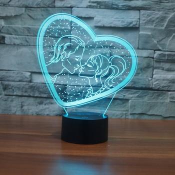 3332 любовник Поцелуй Сердце 3D атмосфера Светодиодная лампа светильник 7 цветов Изменение визуальную иллюзию светодиодные лампы Декор