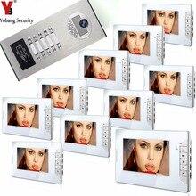 YobangSecurity Villa Apartment Door bell 7Inch Video Door Phone Doorbell Intercom System RFID Access Control 1 Camera 10 Monitor