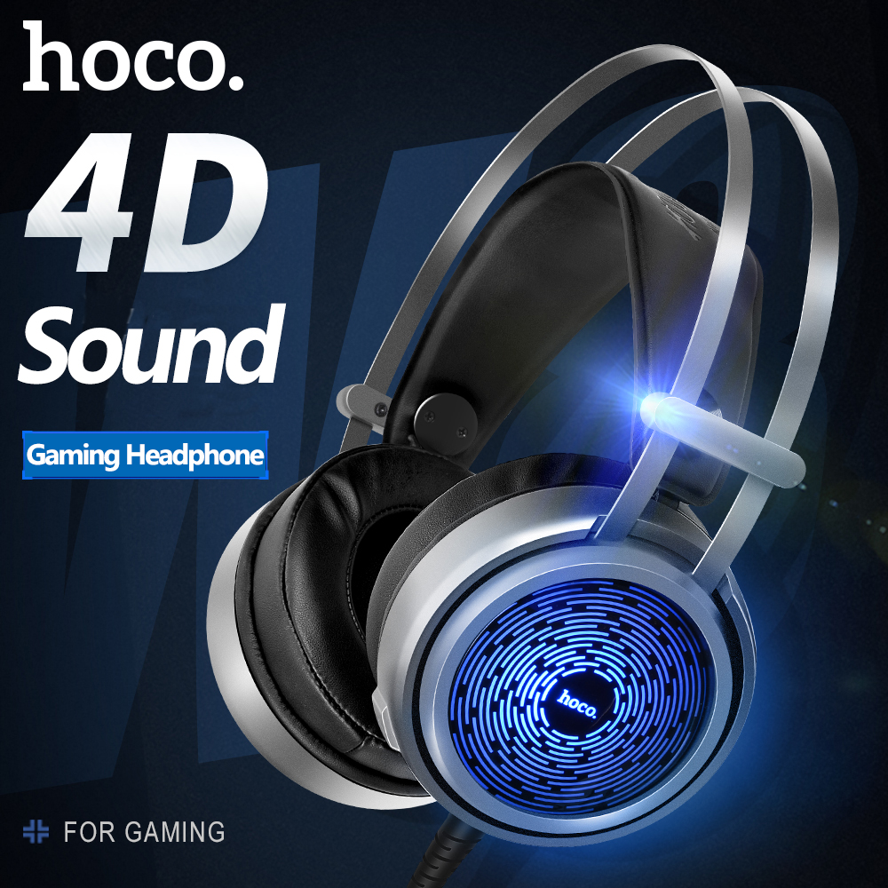 New HOCO 4D Gaming Big Headset W8 Professional Video Game Headphone for Laptop Mobile Phone Game Equipment with Microophone