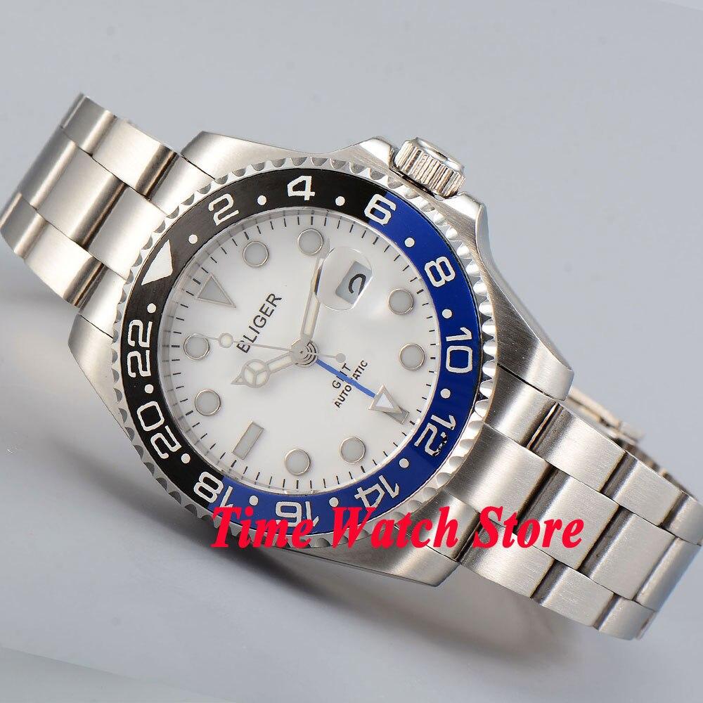 Bliger 40mm white dial luminous saphire glass black blue ceramic Bezel GMT Automatic movement men's watch men 194 цена и фото