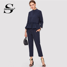 Sheinside Navy Striped Elegant Top And Pants Office Ladies Ruffle Hem Round Neck 2018