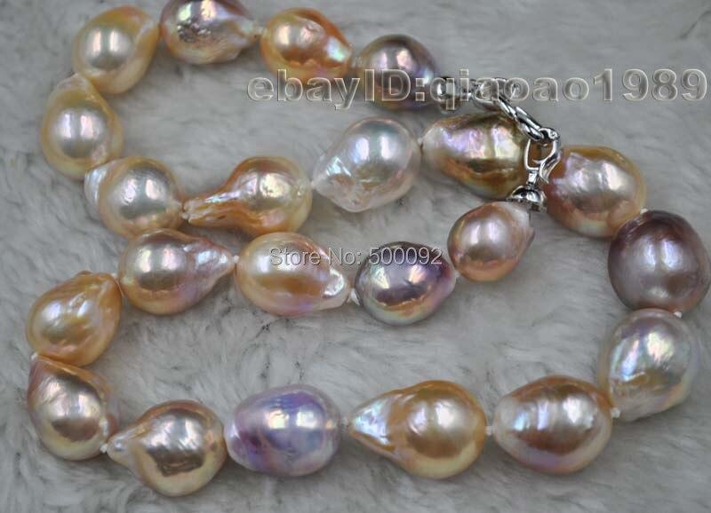 Magnifique collier de perles Kasumi à sillon Baroque 14-18 MM de 18