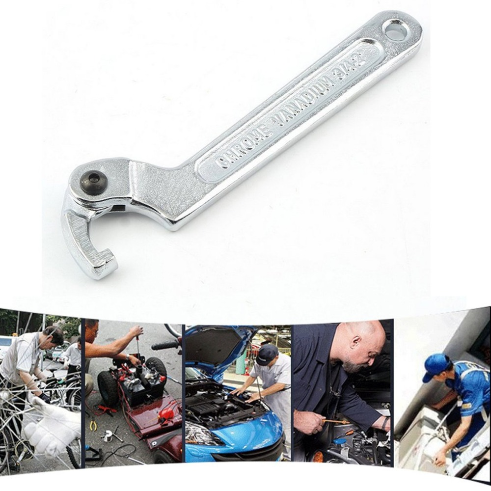 C Spanner Tool Adjustable Hook Wrench 19-51MM with Scale Stainless Steel Key Hand Tools