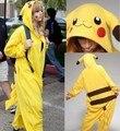 Pokemon Pikachu Unisex Adulto Pijamas Pijamas Natal Halloween Carnaval Anime Traje Cosplay Robe de Flanela Inverno Moletom Com Capuz