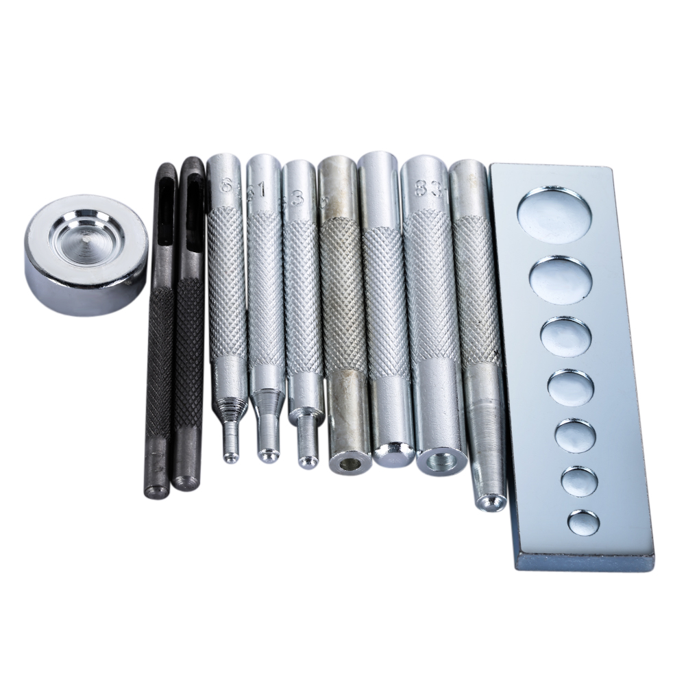 11pcs/set Leather Craft Die Punch Snap Rivet Tools Button Hole Setter Base Kit DIY Leathercraft Rivet Punch Button Tools Set