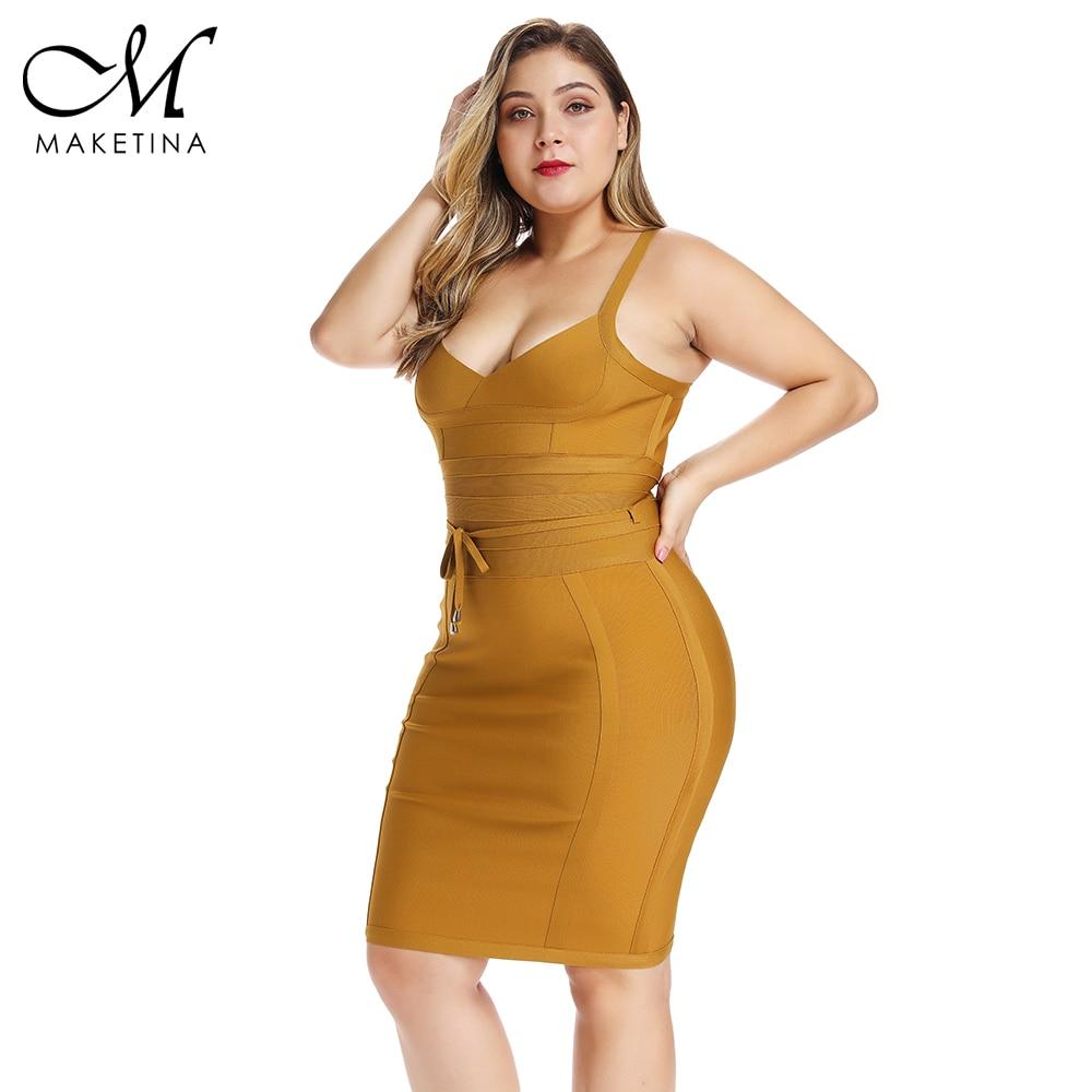 Été 2019 grande taille Bandage robe jaune grande taille moulante Bandage robe Sexy grande taille moulante robe femmes fête Clubwear XL - 2