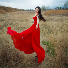 red Summer Slit Beach Dresses or Party Dresses Sexy V Collar Spaghetti Strap High Elastic Temperament Ladies' Long Dress hot