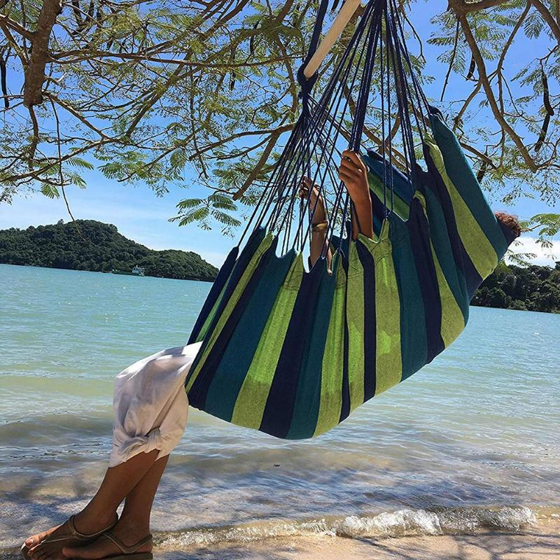 Canvas Hanging Hammock Chair For Adults Kids Indoor Portable Relaxation Thickened Outdoor Swing Travel Camping With Cushion