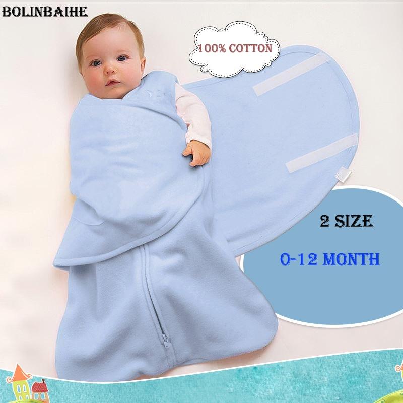 2018 Fashion Newborn Baby Kids Sleeping Bag 100% Cotton Cartoon Sleep Sack Infant baby swaddle wrap infant Blanket & Swaddling removable liner baby infant swaddle blanket 100