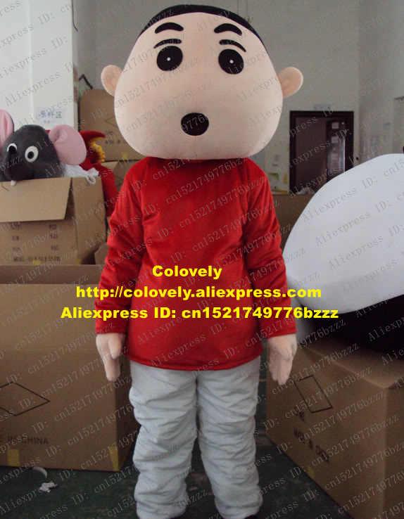 Smart Krayon Merah Shinchan Maskot Kostum Mascotte Anak Kecil Spadger Anak Dewasa dengan Mata Besar Hitam Bulat Mulut No 1286 kapal Gratis