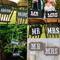 MR & MRS / BRIDE&GROOM Kraft Paper Board Ribbon Photo Props Chair Signs Wedding Decoration Letter Sign Event Party Supplies