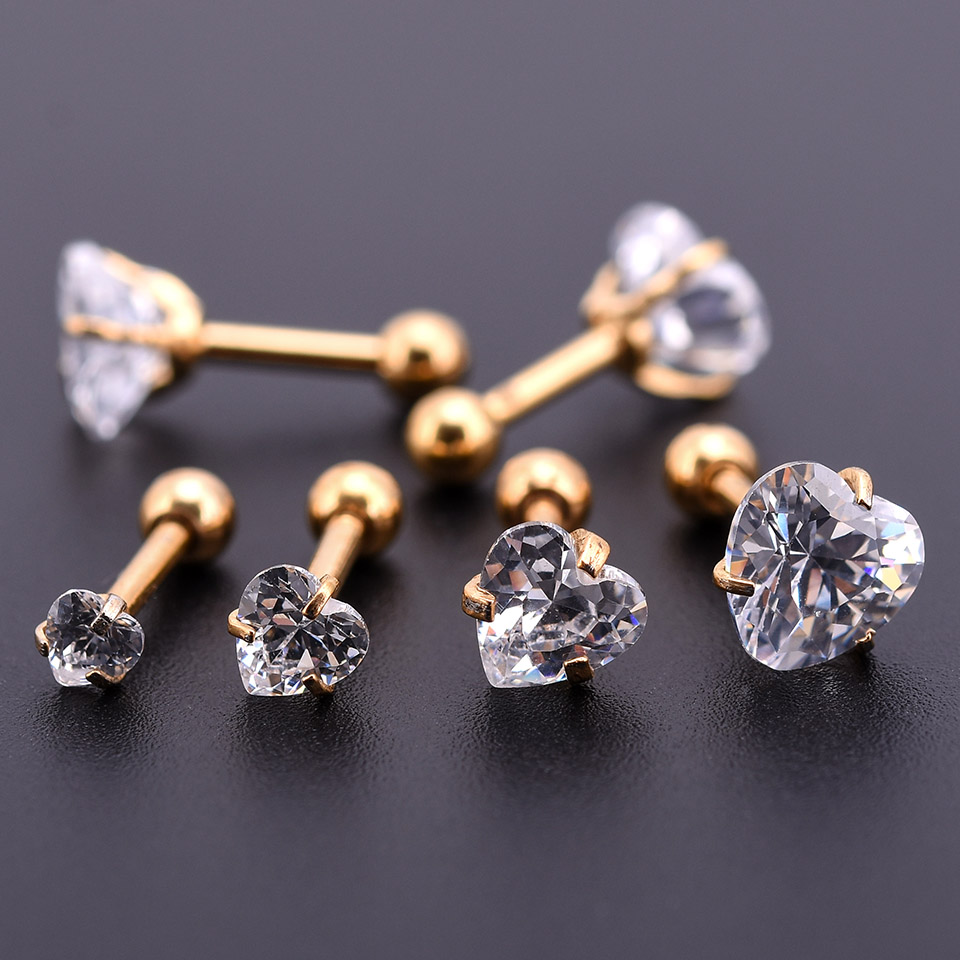 10Pcs Gold Zircon Crystal Round Ball Tongue Lip Bar Ring Stainless Steel Barbell Ear Stud Body Piercing Jewelry