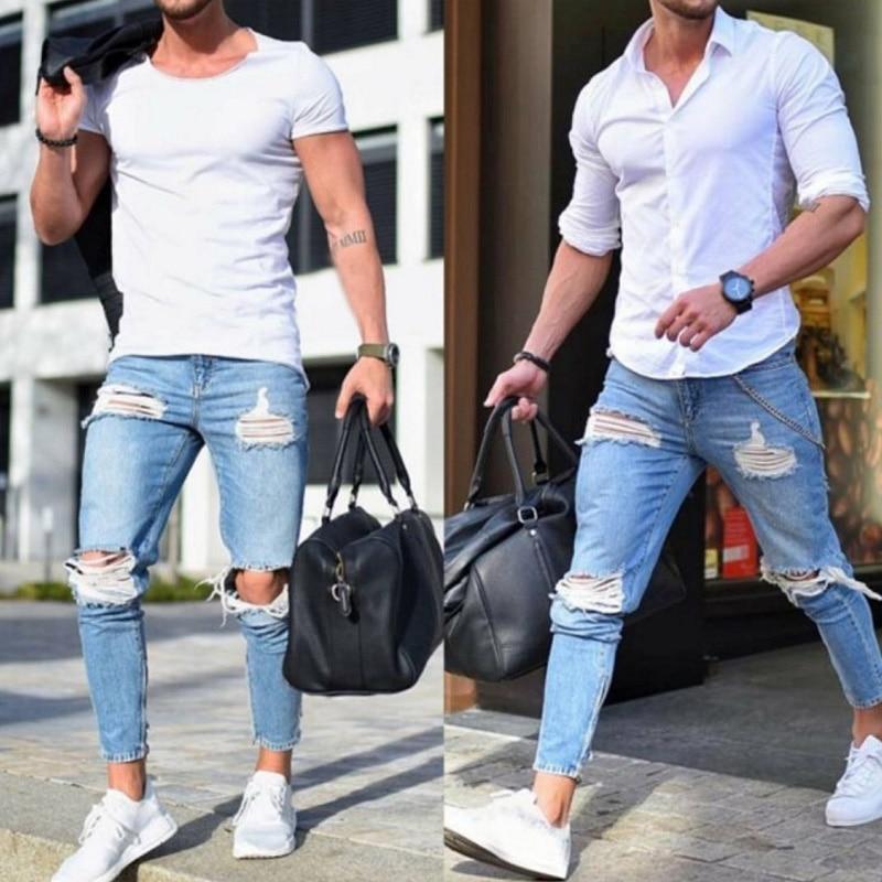 European American High Street Fashion Men's   Jeans   Skinny Destroyed Ripped   Jeans   Broken Punk Pants Blue Color Hip Hop   Jeans   Men