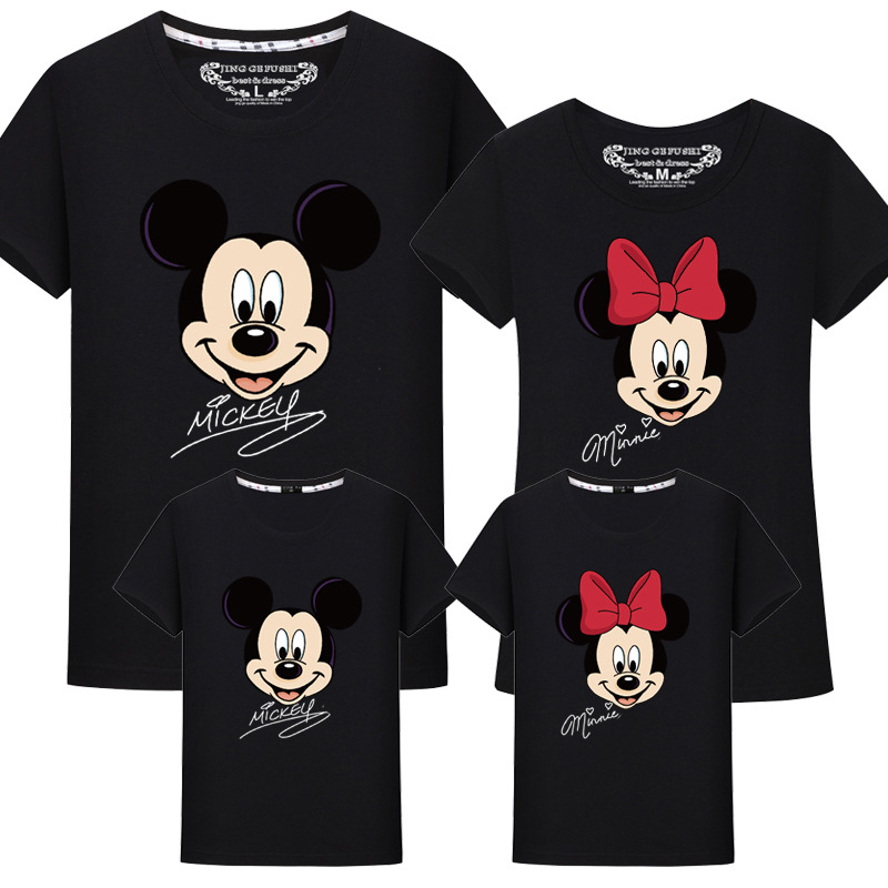 Family Matching Clothes Kids Minnie Mickey Tee Famille Cotton Dad Daughter Matching Outfits Shirt Maman Fille Family Look Tshirt