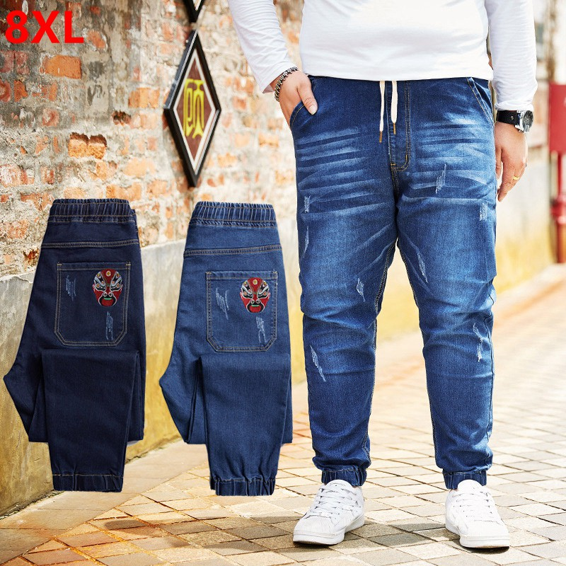 Spring new personality plus fertilizer to increase the code young tide pants large size Chinese style jeans male Harlan