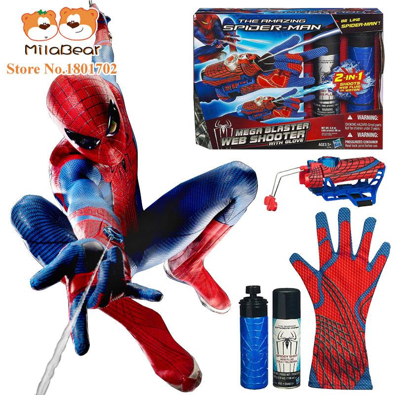 Figure Toys Amazing <font><b>Spiderman</b></font> Brinquedos Spinning <font><b>Spray</b></font> Web <font><b>Shooter</b></font> with Hero Gloves 2 IN 1 web fluid water <font><b>shooter</b></font> kid juguetes