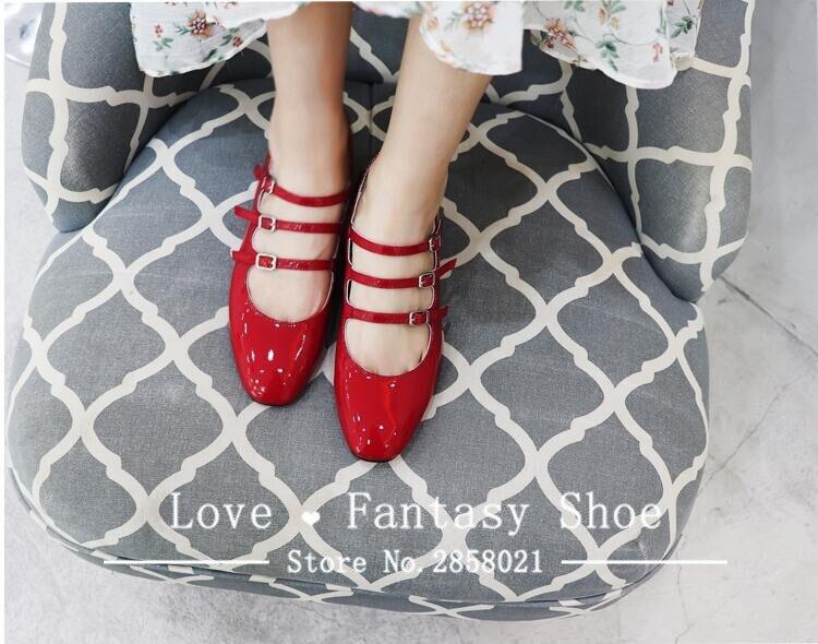 Rond Rouge Mode Cuir Chaussures Dames Boucle Peu Outwear Femmes Élégant En Profonde ceinture Classique Trois Plat Véritable Bout 2018 Red 8Px8pnTqw