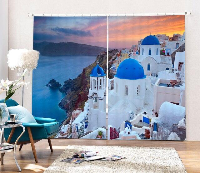 Grecia Paesaggio 3D Lusso Tende Oscuranti Per Soggiorno in camera Da ...