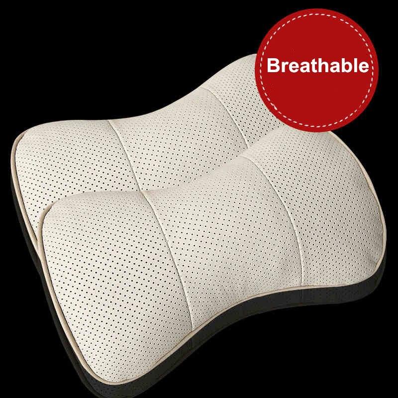 Cuero genuino Asiento del coche Cuello Resto Almohada Respirable - Accesorios de interior de coche - foto 3