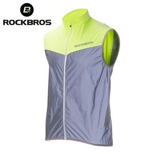 Image 1 - Rockbros ランニング反射ベスト屋外スポーツ安全ジャージ cycing バイクノースリーブ乗馬自転車ベスト男性女性ライトベスト