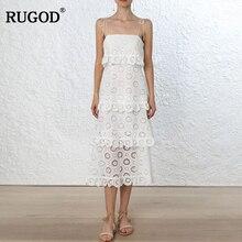 RUGOD летнее элегантное кружевное пляжное платье женское клетчатое Новое растворимое кружевное платье с вышивкой, открытое нарядное платье кольцо волшебный цветок жгут платье