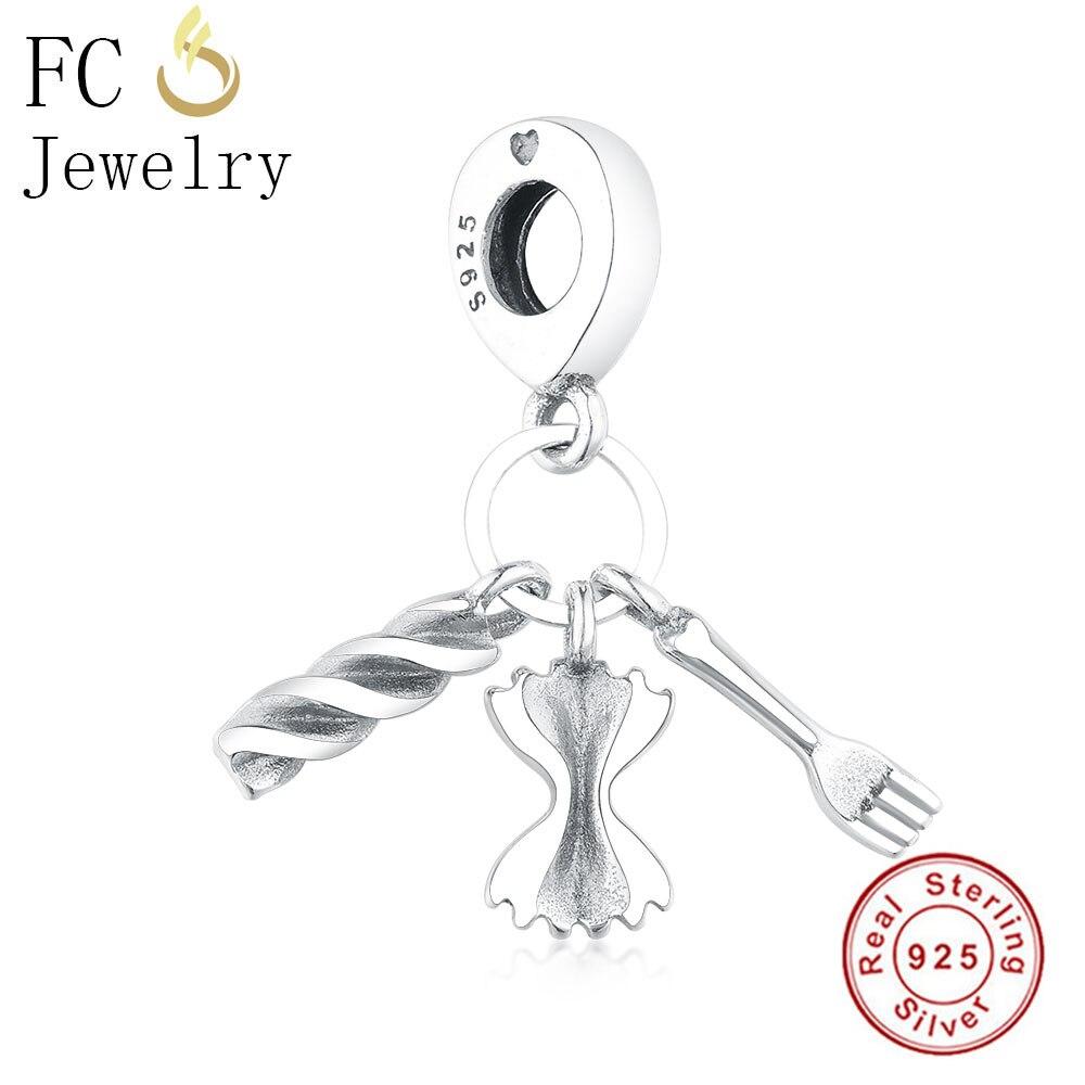 ALI shop ...  ... 32911108255 ... 2 ... FC Jewelry Fit Original Pandora Charm Bracelet 925 Sterling Silver Italy Pasta Food Fork Mr Bow Tie Beads Pendant Berloque Gift ...