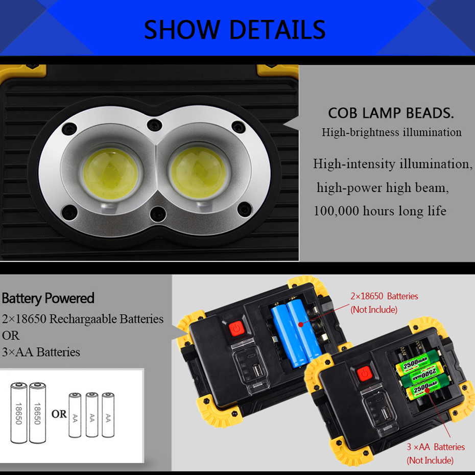 Outdoor Flood Light Does Not Work: Outdoor LED COB Work Light Waterproof USB Rechargeable