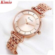 Kimio reloj de la Marca de Moda de Lujo de Las Mujeres Relojes de pulsera de Cuarzo Completa de Acero Inoxidable de oro Rosa Relojes para las mujeres Reloj Resistente Al Agua 2016