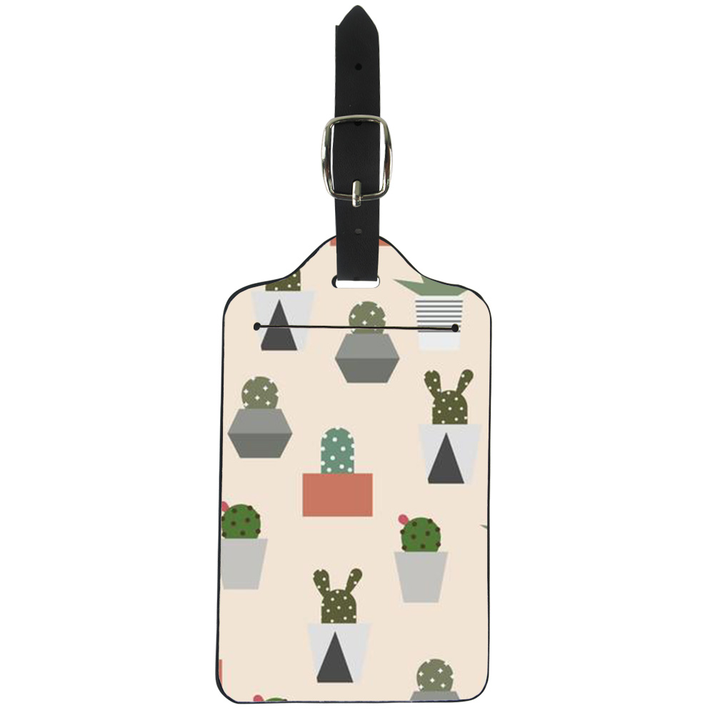 ELVISWORD Funky Cactus Travel Luggage Tags Suitcase ID Address Holder Baggage Accessories Portable Label Protection Cover Bag