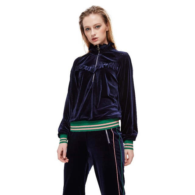 2018 New Womens Tracksuit Casual Suit Velvet 2 Piece Sets Tops+Pants Female Loose Long Sleeve Stripped Sportswear Outfits